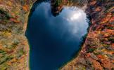 紅葉のハートレイク 豊似湖